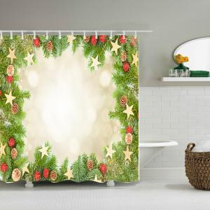 Christmas Tree Stars Print Fabric Waterproof Bathroom Shower Curtain - GREEN W71 INCH * L71 INCH