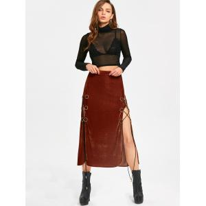 High Slit Maxi Lace Up Velvet Skirt -