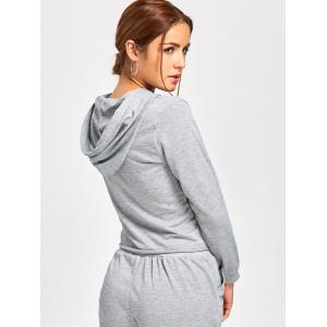 Drawstring Embroidered Pullover Hoodie - GRAY M