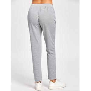 Embroidered High Waisted Sweatpants - GRAY S