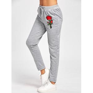Embroidered High Waisted Sweatpants - GRAY M