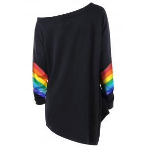 Plus Size Skew Neck Colorful Stripes Pullover Sweatshirt -