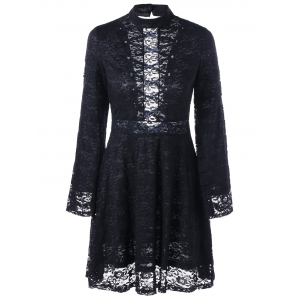 Back Tie-up Mock Neck Lace Dress - BLACK L