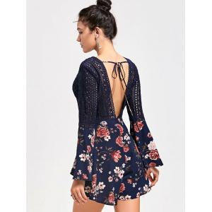 Hollow Out Backless Floral Low Cut Romper - CERULEAN M