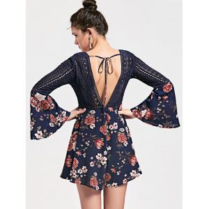 Hollow Out Backless Floral Low Cut Romper - CERULEAN XL