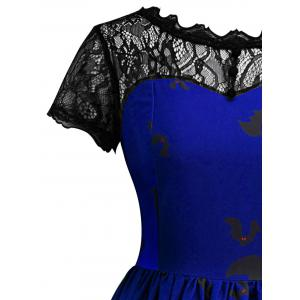 Vintage Lace Insert Halloween Dress - BLUE S