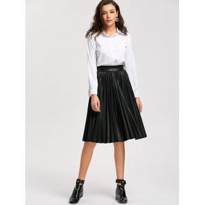 High Waist Pleated Faux Leather Skirt -