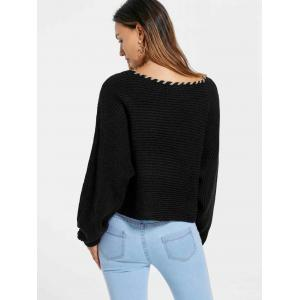 Skew Collar Short Sweater - BLACK L