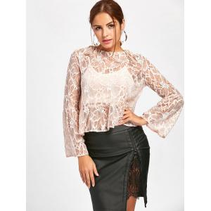 Flare Sleeve See Thru Lace Blouse - NUDE XL