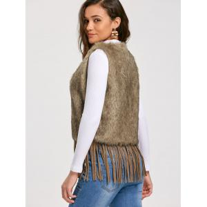 Tie Up Faux Fur Fringe Vest - KHAKI 2XL