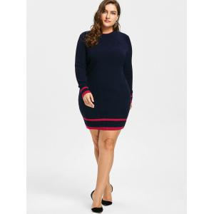 Plus Size Striped Ribbed Sweater Dress -