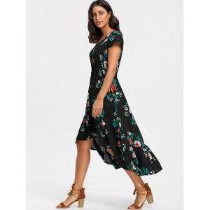 Maxi V-neck Cap Sleeve Floral Dress -
