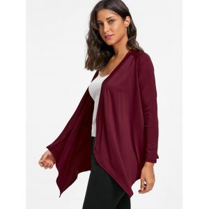 Draped Asymmetrical Open Front Cardigan -