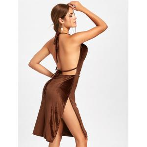 Velvet Slit Backless Halter Dress -