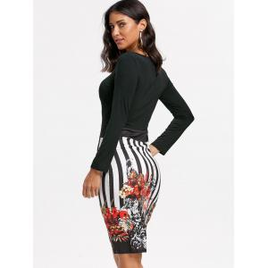 Stripe Floral Bodycon Dress -