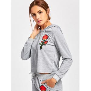 Drawstring Embroidered Pullover Hoodie -