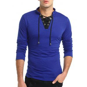 Long Sleeve Color Block Lace Up T-shirt -