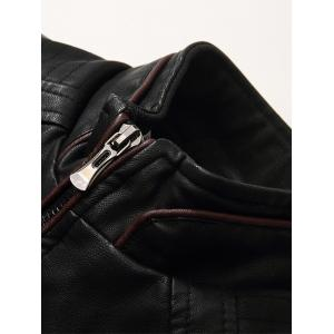 Embroidered Fleece Pleat PU Leather Jacket -