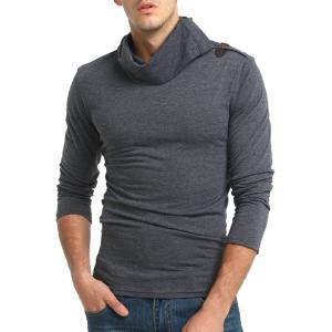 Piles Collar Horn Button Long Sleeve T-shirt -