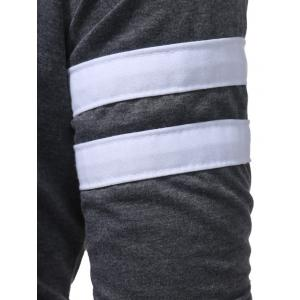 Varsity Stripe Asymmetrical Bottom Zip Up Hoodie -