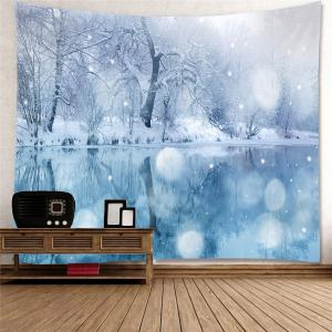 Hanging Lakeside Snowscape Patterned Wall Art Tapestry -