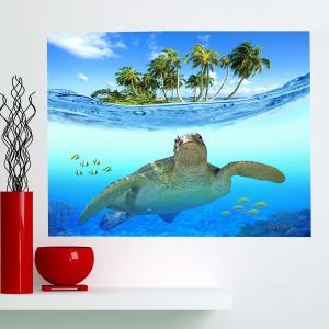 Sea Turtle Pattern Waterproof Stick-on Wall Art Painting -