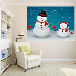 Multifunction Double Christmas Snowmen Patterned Wall Art Painting -