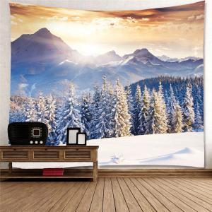 Wall Art Snow Mountains Forest Hanging Tapestry -