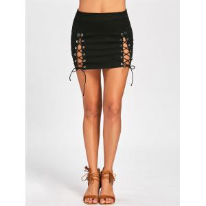 High Waist Lace Up Mini Skirt -