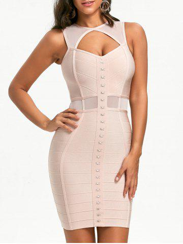 Chic Mesh Panel Cut Out Bandage Dress - S PINK Mobile