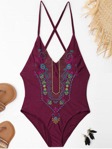Sale Cross Back Embroidered Plus Size Swimsuit WINE RED XL