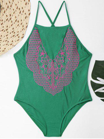 New Plus Size Lace Up Embroidered Swimsuit - 4XL GREEN Mobile