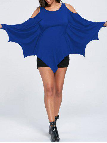 Shop Halloween Cold Shoulder Batwing T-shirt BLUE L