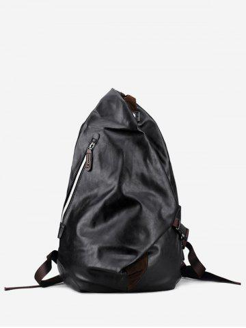 Unique PU Leather Zipper Backpack - BLACK  Mobile