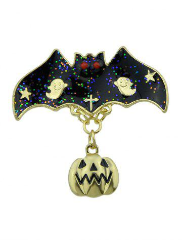 Fashion Halloween Pumpkin Bat Ghost Star Brooch GOLDEN