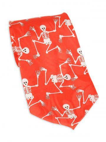 Trendy Halloween Skeleton Print 10CM Width Neck Tie - RED WITH WHITE  Mobile