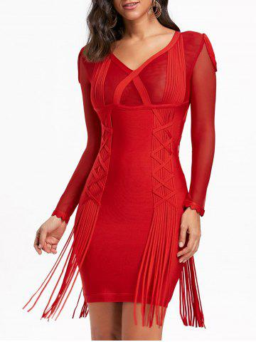 Outfits Fringe Mesh Long Sleeve Bandage Dress RED M