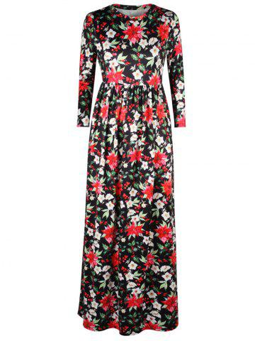 Outfit A Line Floral Leaf Print Maxi Dress BLACK XL