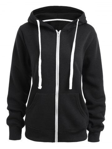 Chic Plus Size  Zip Up Fleece Lined Hoodie - 3XL BLACK Mobile