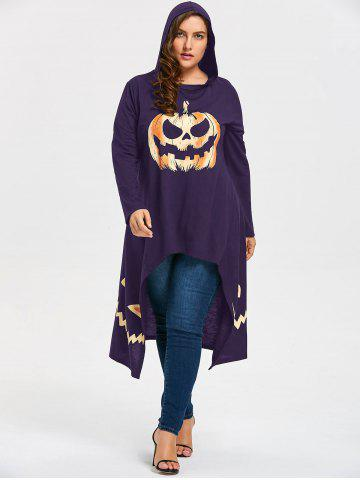 Latest Plus Size Hooded High Low Halloween Pumpkin Tee - XL PURPLE Mobile