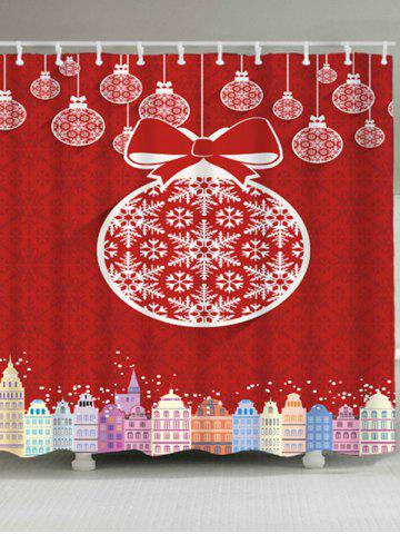 Sale Waterproof Christmas Ball Building Shower Curtain - W59 INCH * L71 INCH RED Mobile