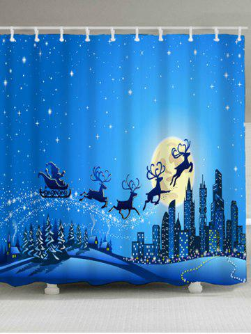 Best Waterproof Christmas Sled Moon Shower Curtain BLUE W59 INCH * L71 INCH