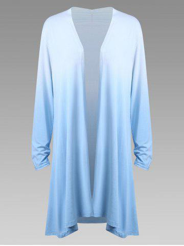 Best Plus Size  Long Sleeve Open Front Ombre Duster Cardigan - 2XL SKY BLUE Mobile