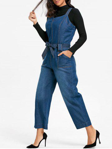 Store Sleeveless Wide Leg Denim Jumpsuit