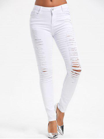 Store High Waist Skinny Ripped Pants WHITE S
