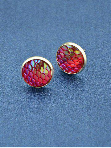 Sale Round Mermaid Scales Stud Tiny Earrings - RED  Mobile