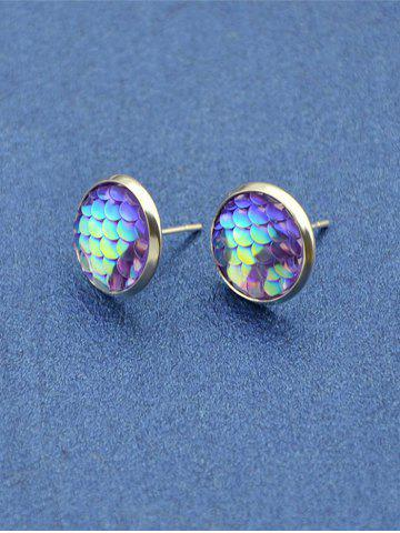 Outfits Round Mermaid Scales Stud Tiny Earrings PURPLE