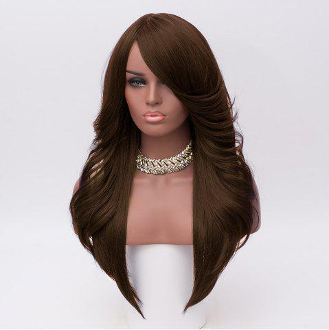 Shops Long Inclined Bang Feathered Straight Synthetic Wig - BROWN  Mobile