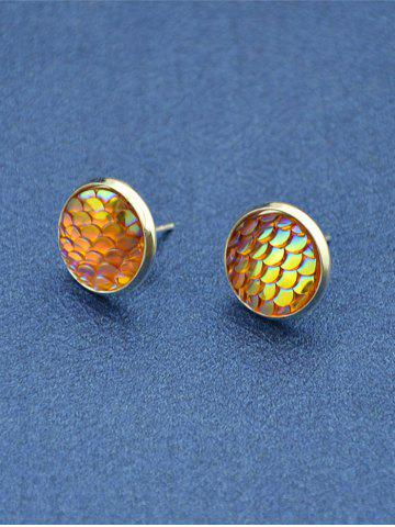New Round Mermaid Scales Stud Tiny Earrings - YELLOW  Mobile