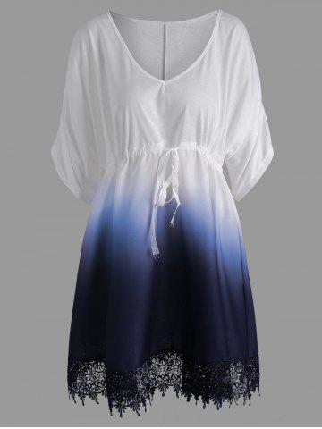 Affordable Plus Size V Neck Ombre Tunic Top BLUE 3XL